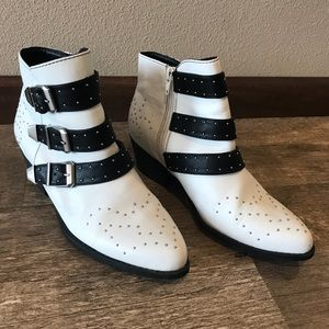 Shoes - Black and white boots